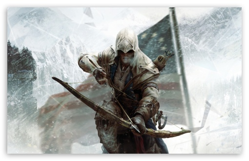 Assassin's Creed 3 Connor Bow HD wallpaper for Standard 4:3 5:4 Fullscreen UXGA XGA SVGA QSXGA SXGA ; Wide 16:10 5:3 Widescreen WHXGA WQXGA WUXGA WXGA WGA ; HD 16:9 High Definition WQHD QWXGA 1080p 900p 720p QHD nHD ; Other 3:2 DVGA HVGA HQVGA devices ( Apple PowerBook G4 iPhone 4 3G 3GS iPod Touch ) ; Mobile VGA WVGA iPhone iPad PSP Phone - VGA QVGA Smartphone ( PocketPC GPS iPod Zune BlackBerry HTC Samsung LG Nokia Eten Asus ) WVGA WQVGA Smartphone ( HTC Samsung Sony Ericsson LG Vertu MIO ) HVGA Smartphone ( Apple iPhone iPod BlackBerry HTC Samsung Nokia ) Sony PSP Zune HD Zen ; Tablet 2 ;