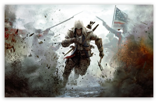 Assassin's Creed 3 Connor Free Running HD wallpaper for Standard 4:3 5:4 Fullscreen UXGA XGA SVGA QSXGA SXGA ; Wide 16:10 5:3 Widescreen WHXGA WQXGA WUXGA WXGA WGA ; HD 16:9 High Definition WQHD QWXGA 1080p 900p 720p QHD nHD ; Other 3:2 DVGA HVGA HQVGA devices ( Apple PowerBook G4 iPhone 4 3G 3GS iPod Touch ) ; Mobile VGA WVGA iPhone iPad PSP Phone - VGA QVGA Smartphone ( PocketPC GPS iPod Zune BlackBerry HTC Samsung LG Nokia Eten Asus ) WVGA WQVGA Smartphone ( HTC Samsung Sony Ericsson LG Vertu MIO ) HVGA Smartphone ( Apple iPhone iPod BlackBerry HTC Samsung Nokia ) Sony PSP Zune HD Zen ; Tablet 2 Android ; Dual 4:3 5:4 16:10 5:3 16:9 UXGA XGA SVGA QSXGA SXGA WHXGA WQXGA WUXGA WXGA WGA WQHD QWXGA 1080p 900p 720p QHD nHD ;