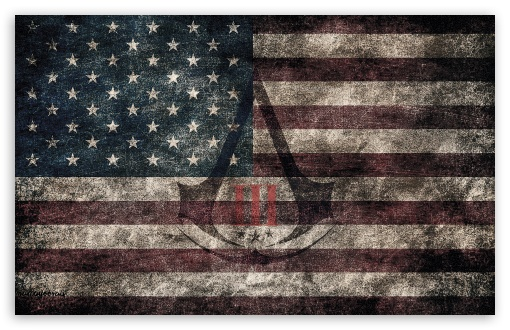 Assassin's Creed III - American Eroded Flag HD wallpaper for Wide 16:10 5:3 Widescreen WHXGA WQXGA WUXGA WXGA WGA ; HD 16:9 High Definition WQHD QWXGA 1080p 900p 720p QHD nHD ; Mobile VGA WVGA iPad PSP - VGA QVGA Smartphone ( PocketPC GPS iPod Zune BlackBerry HTC Samsung LG Nokia Eten Asus ) WVGA WQVGA Smartphone ( HTC Samsung Sony Ericsson LG Vertu MIO ) Sony PSP Zune HD Zen ; Tablet 2 ;