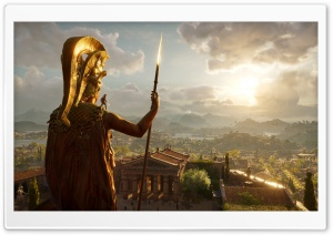 Assassins Creed Odyssey Ubisoft Greece statue Alexios Spartans video game HD Wide Wallpaper for 4K UHD Widescreen desktop & smartphone