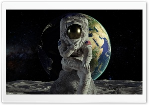 Astronaut on the Moon Victory HD Wide Wallpaper for 4K UHD Widescreen desktop & smartphone