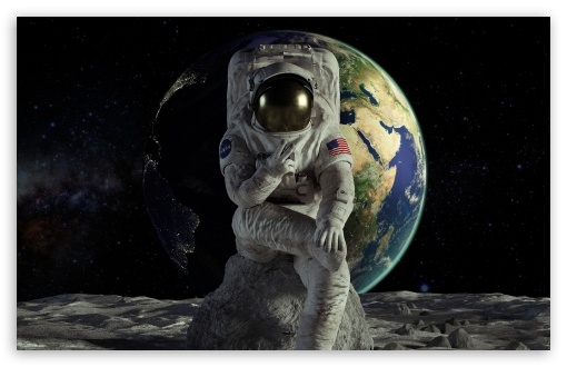 Download Astronaut on the Moon Victory UltraHD Wallpaper