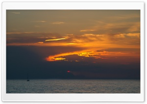 At Sea, Sunset HD Wide Wallpaper for Widescreen