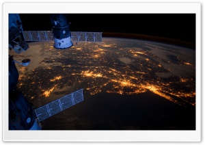 Atlantic Coast At Night - Nasa, International Space Station HD Wide Wallpaper for 4K UHD Widescreen desktop & smartphone