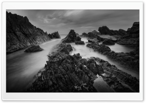 Atlantic Rocky Coastline Black and White Ultra HD Wallpaper for 4K UHD Widescreen desktop, tablet & smartphone
