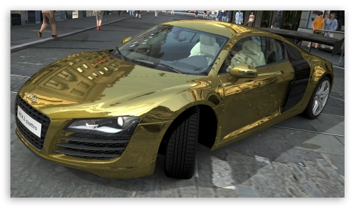 Audi R8 4.2 Quattro Gold HD wallpaper for HD 16:9 High Definition WQHD QWXGA 1080p 900p 720p QHD nHD ; UHD 16:9 WQHD QWXGA 1080p 900p 720p QHD nHD ; Mobile 16:9 - WQHD QWXGA 1080p 900p 720p QHD nHD ;