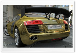 Audi R8 4.2 Quattro Gold HD Wide Wallpaper for Widescreen