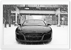 Audi R8 in Snow HD Wide Wallpaper for Widescreen