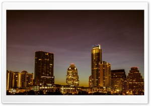 Austin Skyline At Night HD Wide Wallpaper for Widescreen