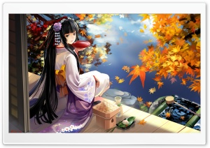 Autumn Anime Scenery HD Wide Wallpaper for Widescreen