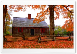 Autumn Cottage HD Wide Wallpaper for Widescreen