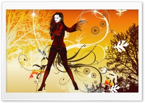 Autumn Girl Vector HD Wide Wallpaper for Widescreen