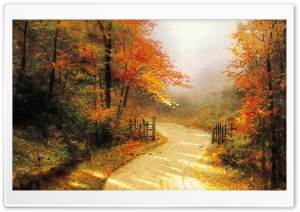 Autumn Lane By Thomas Kinkade HD Wide Wallpaper for 4K UHD Widescreen desktop & smartphone