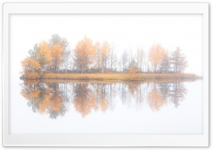 Autumn Trees Island Reflection HD Wide Wallpaper for 4K UHD Widescreen desktop & smartphone
