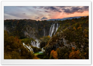 Autumn, Waterfall, Plitvice Lakes National Park, Croatia HD Wide Wallpaper for 4K UHD Widescreen desktop & smartphone