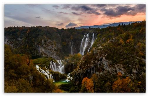 Download Autumn, Waterfall, Plitvice Lakes National... HD Wallpaper