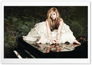 Avril Lavigne In A White Dress HD Wide Wallpaper for Widescreen