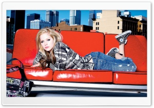 Avril Lavigne On Red Sofa HD Wide Wallpaper for Widescreen