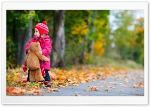 Baby Girl Autumn HD Wide Wallpaper for Widescreen