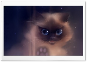 Bad Kitty Painting HD Wide Wallpaper for Widescreen