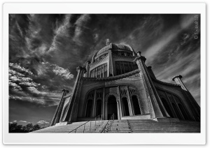 Baha'i Temple Black and White HD Wide Wallpaper for 4K UHD Widescreen desktop & smartphone