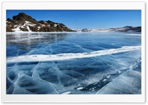 Baikal Lake Frozen, Winter, Russia Scenery HD Wide Wallpaper for 4K UHD Widescreen desktop & smartphone