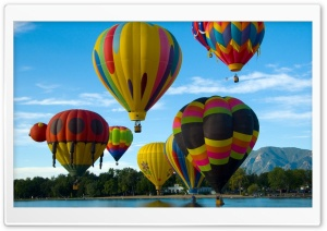 Balloons, Flying, River Ultra HD Wallpaper for 4K UHD Widescreen desktop, tablet & smartphone