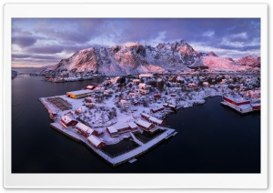 Ballstad village, Lofoten islands, Norway, Winter Ultra HD Wallpaper for 4K UHD Widescreen desktop, tablet & smartphone