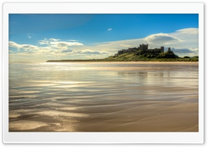 Bamburgh Castle, Beach, Northumberland, England HD Wide Wallpaper for 4K UHD Widescreen desktop & smartphone