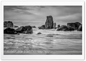 Bandon Beach Oregon, Black and White HD Wide Wallpaper for 4K UHD Widescreen desktop & smartphone