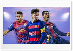 Barcelona Trio - Messi, Suarez and Neymar HD Wide Wallpaper for 4K UHD Widescreen desktop & smartphone
