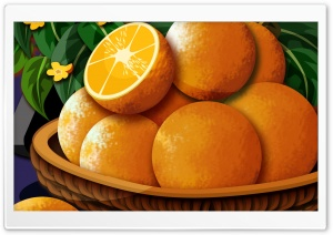 Basket Of Oranges HD Wide Wallpaper for Widescreen