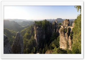 Bastei Bridge, Saxon Switzerland, Saxony, Germany HD Wide Wallpaper for 4K UHD Widescreen desktop & smartphone