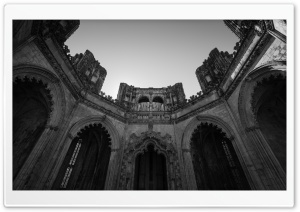 Batalha Monastery Architecture Black and White HD Wide Wallpaper for Widescreen
