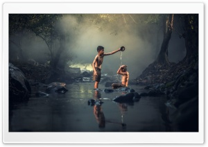 Bathing in a Creek HD Wide Wallpaper for Widescreen