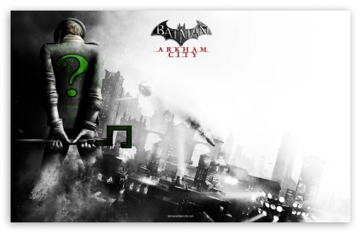 Batman Arkham City - Riddler HD wallpaper for Wide 16:10 5:3 Widescreen WHXGA WQXGA WUXGA WXGA WGA ; Standard 3:2 Fullscreen DVGA HVGA HQVGA devices ( Apple PowerBook G4 iPhone 4 3G 3GS iPod Touch ) ; Mobile 5:3 3:2 - WGA DVGA HVGA HQVGA devices ( Apple PowerBook G4 iPhone 4 3G 3GS iPod Touch ) ;