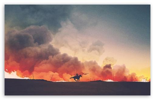 Download Battlefield, Warrior, Horse, Running, Smoke,... HD Wallpaper