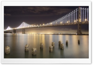 Bay Bridge By Night   San Francisco HD Wide Wallpaper for 4K UHD Widescreen desktop & smartphone