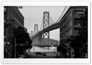 Bay Bridge San Francisco City Black and White Ultra HD Wallpaper for 4K UHD Widescreen desktop, tablet & smartphone