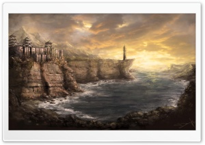 Bay Painting HD Wide Wallpaper for Widescreen
