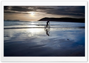 Beach Bike Ride HD Wide Wallpaper for Widescreen
