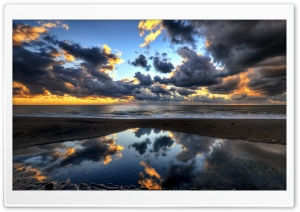 Beach, Dark Clouds, Sea Ultra HD Wallpaper for 4K UHD Widescreen desktop, tablet & smartphone