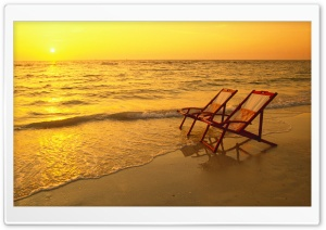 Beach Lounge Chairs HD Wide Wallpaper for Widescreen