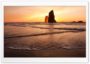 Beach Rock, Sunrise HD Wide Wallpaper for Widescreen