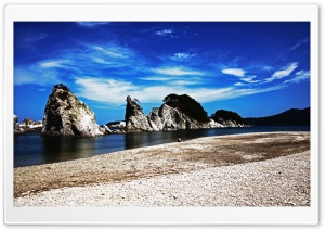 Beach Rocks HD Wide Wallpaper for Widescreen