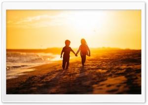 Beach, Sea, Children Ultra HD Wallpaper for 4K UHD Widescreen desktop, tablet & smartphone