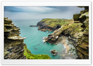 Beach, Tintagel castle,...