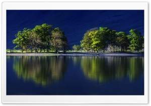 Beatiful Reflection, Blue Water, Green Trees HD Wide Wallpaper for Widescreen
