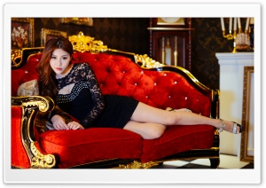 Beautiful Asian Woman, Red Luxury Sofa HD Wide Wallpaper for 4K UHD Widescreen desktop & smartphone