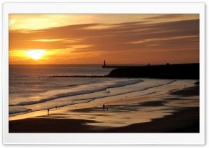 Beautiful Beach At Sunset HD Wide Wallpaper for 4K UHD Widescreen desktop & smartphone